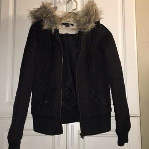 BLACK QUILTED JACKET WITH FAUX FUR HOOD